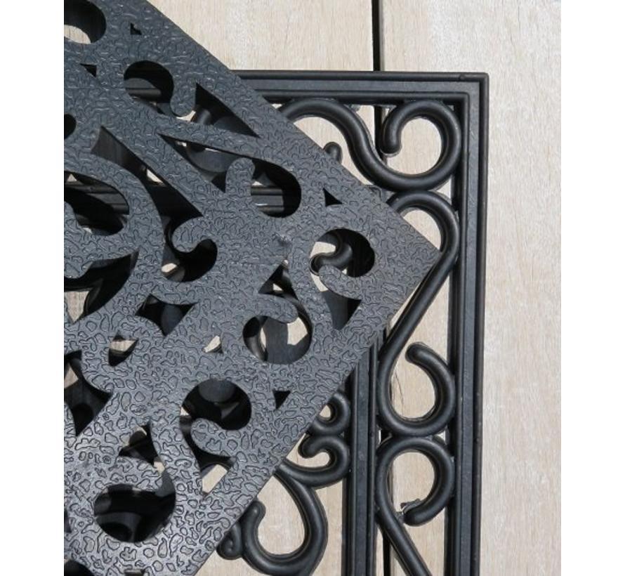 Rubber deurmat smeedijzer halfrond