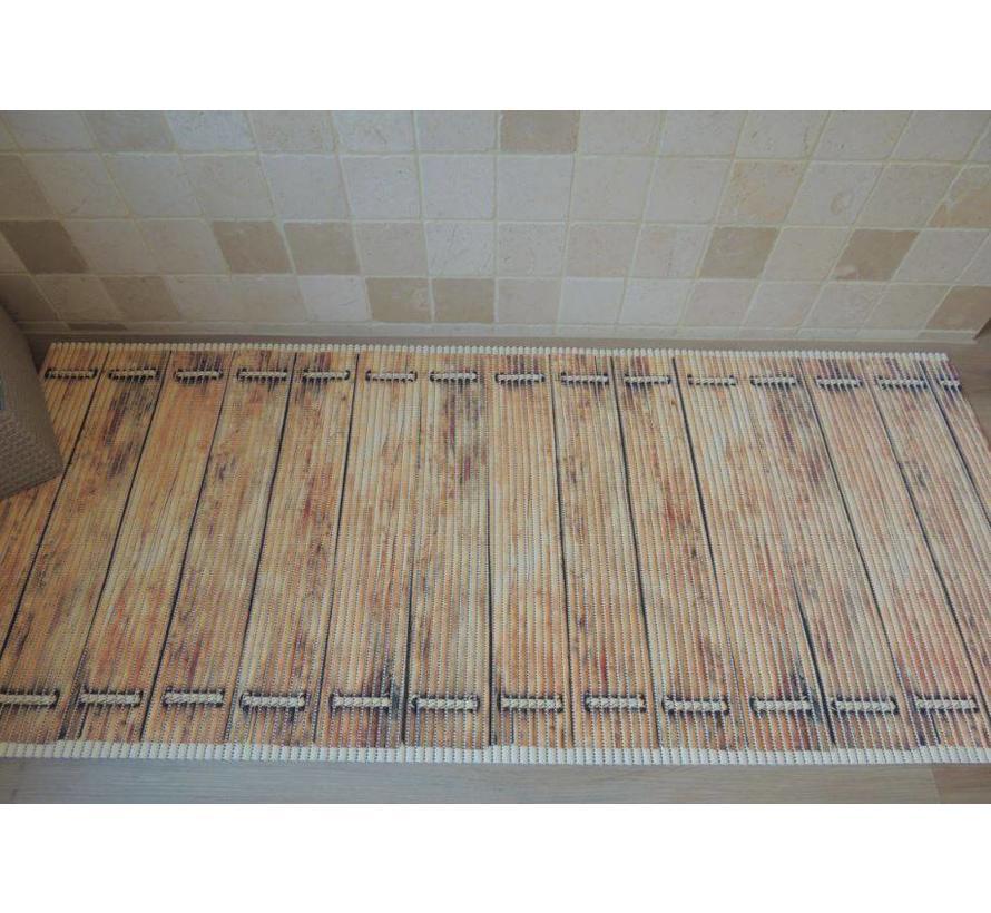 Tapis antidérapant sur mesure, plancher brun
