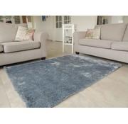 Hoogpolig tapijt blauw/zilver luxe