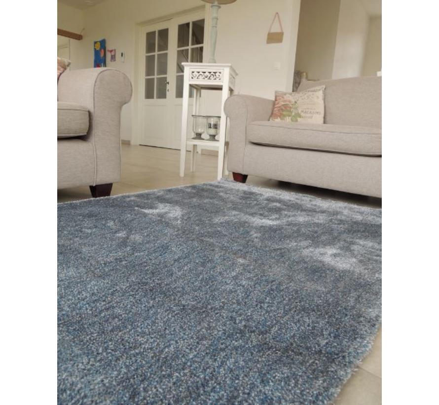 Hoogpolig tapijt blauw/zilver luxe 20 mm