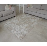 Klassiek tapijt beige met sierprint, binnen en buiten