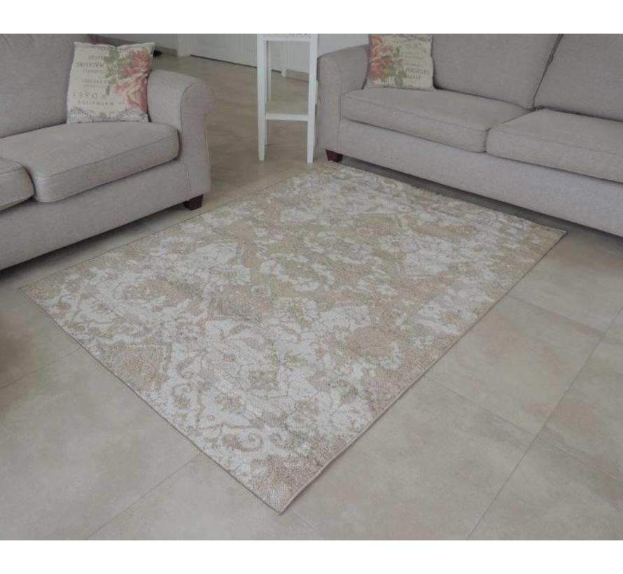 Klassiek tapijt beige met sierprint