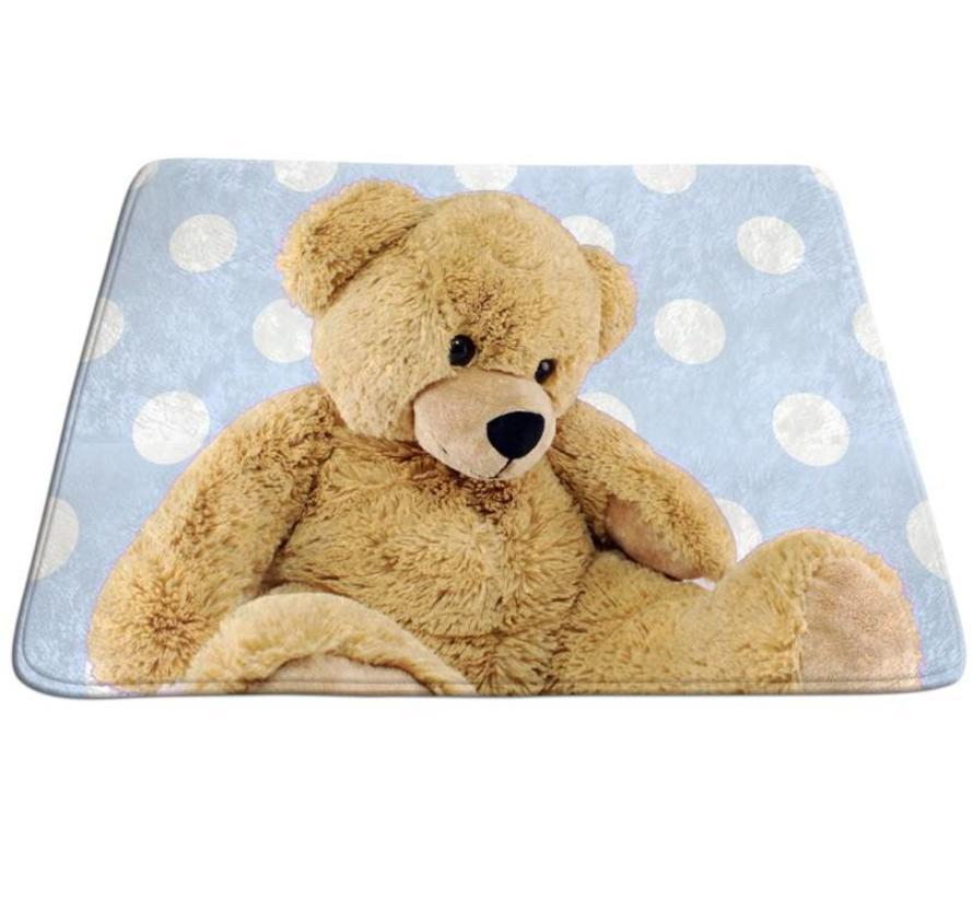 Tapis bébé bleu avec ours en peluche