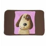 Kindertapijt zwart/roze met opdruk hond