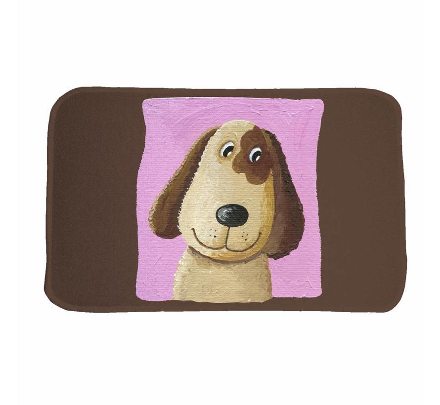 Kindertapijt bruin/roze met opdruk hond