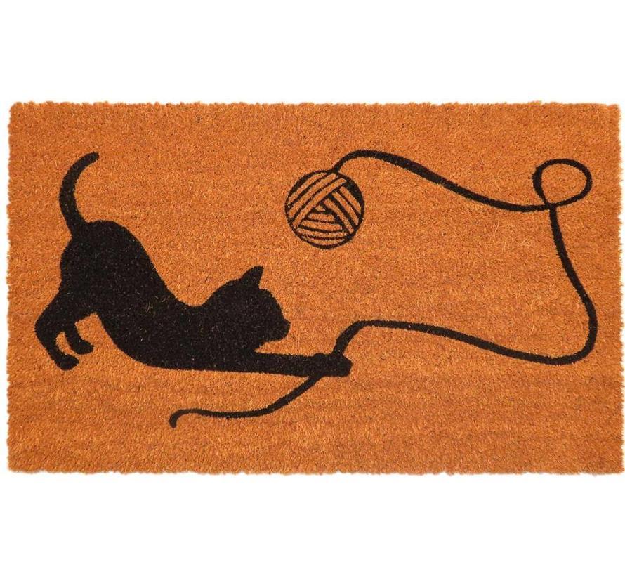 Tapis coco imprimé chat jouant