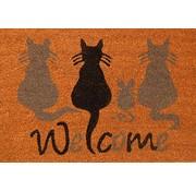 Kokosmat Welcome opdruk katten