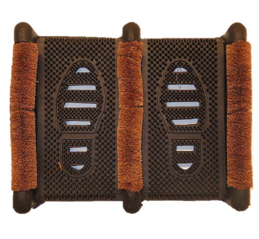 Gratte-pieds en caoutchouc et brosses à coco, 32x39cm