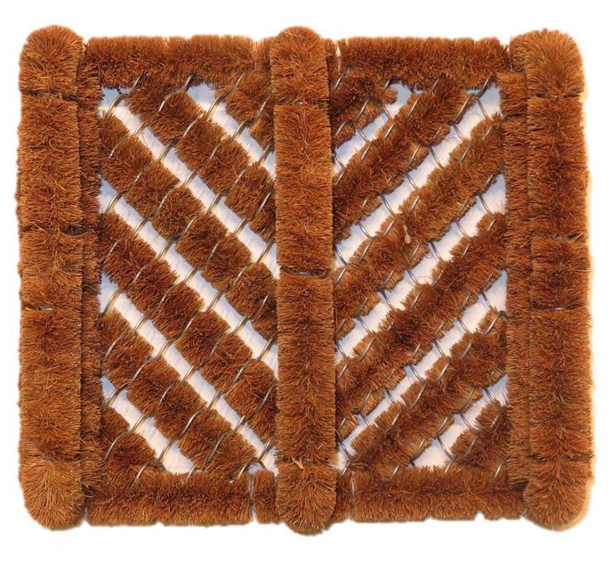 Borstelmat kokos bruin met opstaand rand