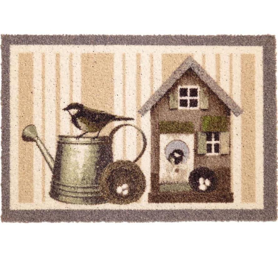 Deurmat vogelhuis en gieter