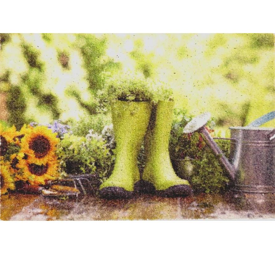 Paillasson d'entrée bottes vertes en caoutchouc