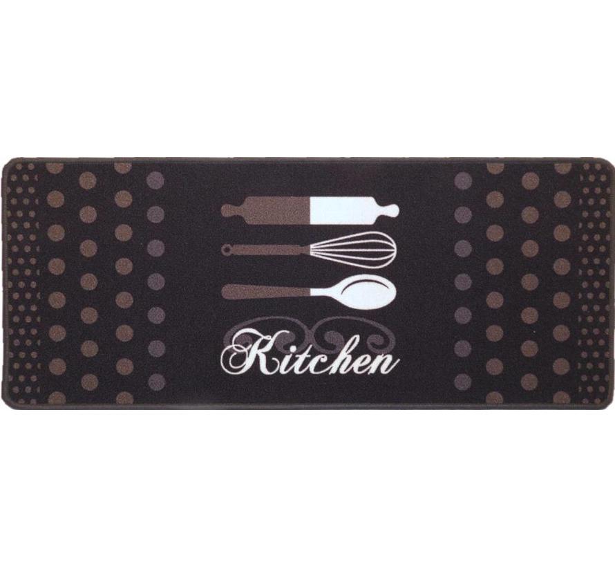 Tapis de cuisine avec texte, noir