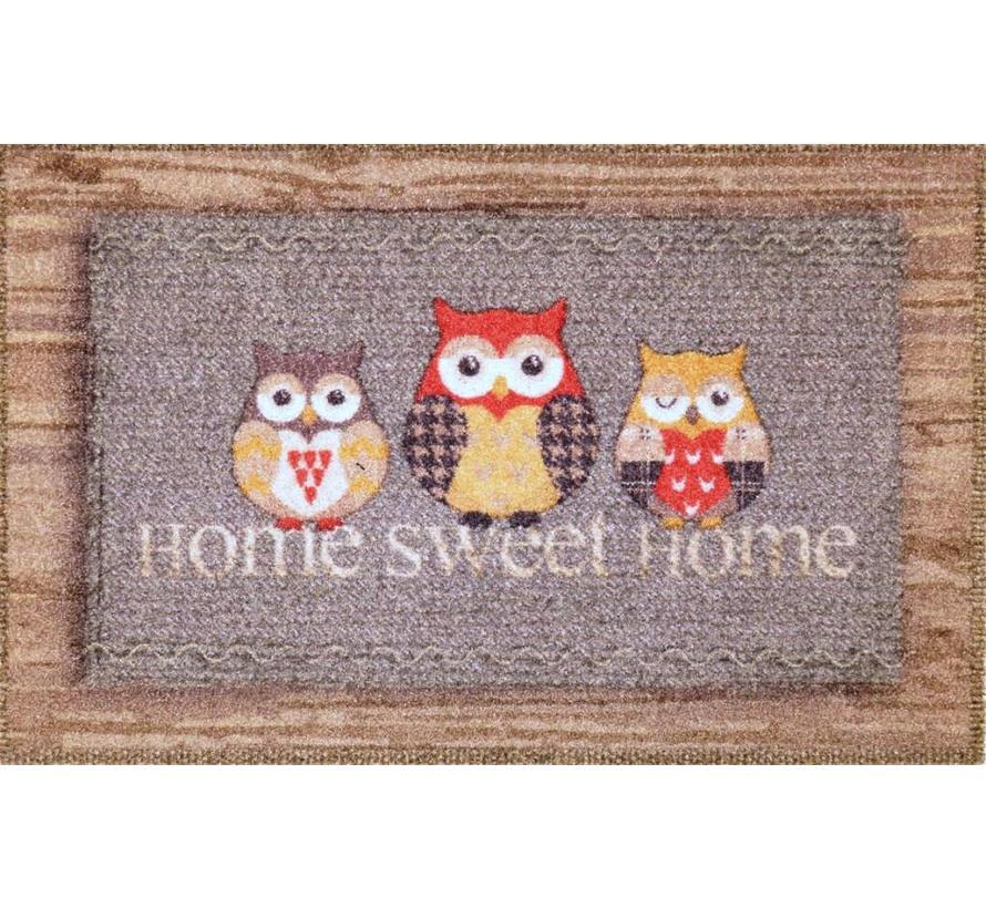 Deurmat grijs Welcome Home uilen