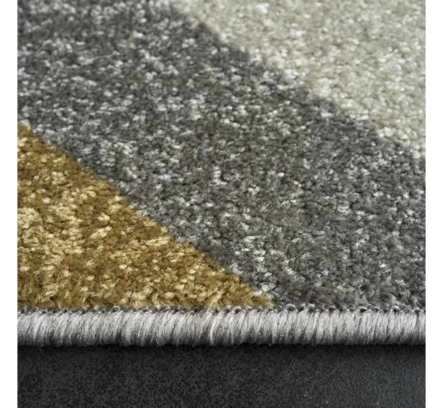 Modern tapijt met ivoor, grijs en oker patroon