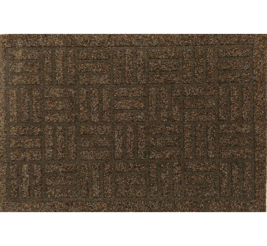 Paillasson aiguilleté grattant et thermo imprimé, brun