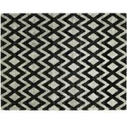 Modern tapijt met geometrische print, beige / zwart