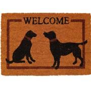 Tapis coco imprimé Welcome chiens