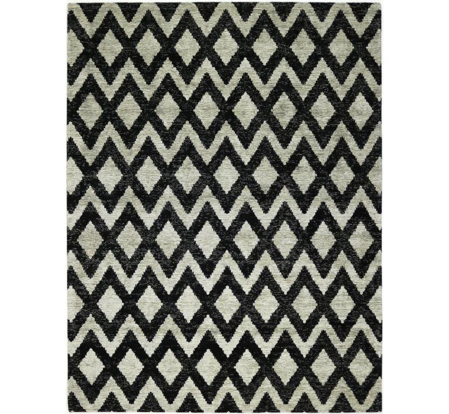 Tapis moderne, dessin géométrique, beige / noir