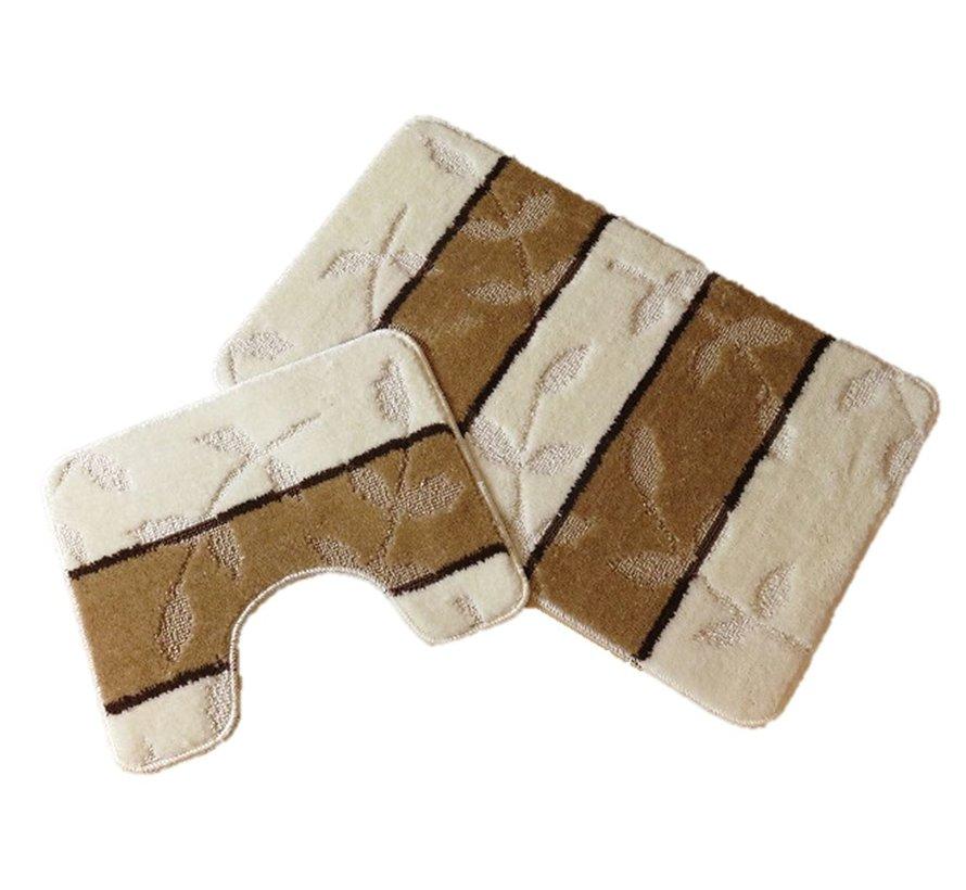 Tapis de bain set, teintes ivoire et brun