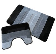 Tapis de bain set, teintes noir et gris