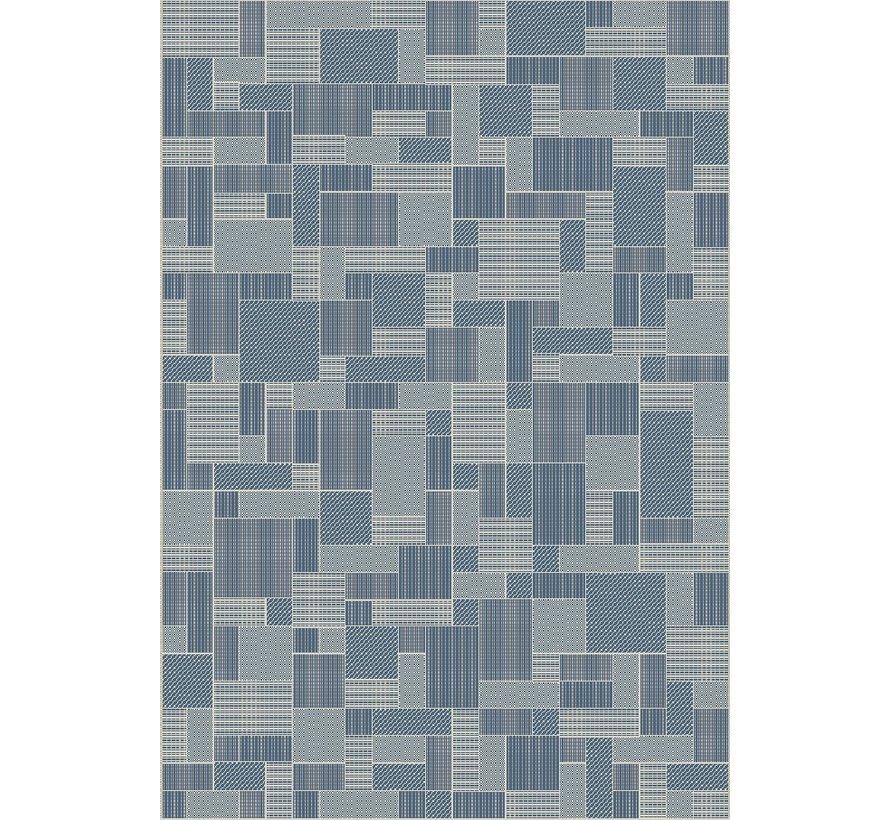 Tapijt voor buiten en binnen, ivoor zilver/blauw