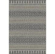 Tapijt voor buiten en binnen, lijnen dessin, ivoor zilver/grijs