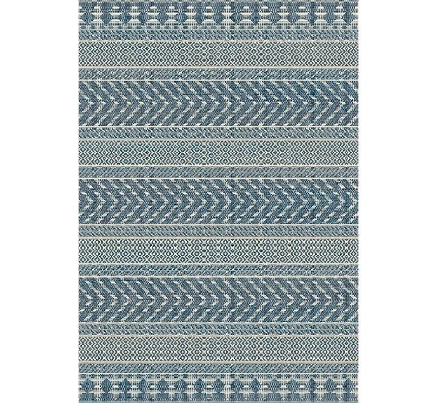 Tapijt voor buiten en binnen, lijnen dessin, ivoor zilver/blauw