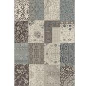 Modern tapijt patchwork grijs/blauw
