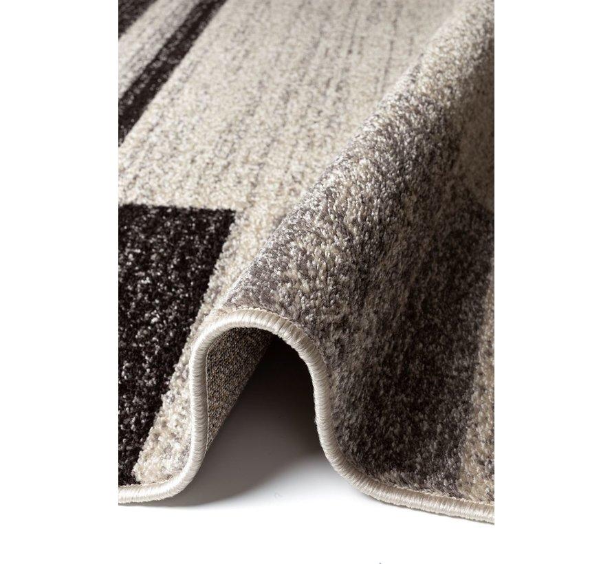 Modern tapijt ivoor/donkerbruin patroon