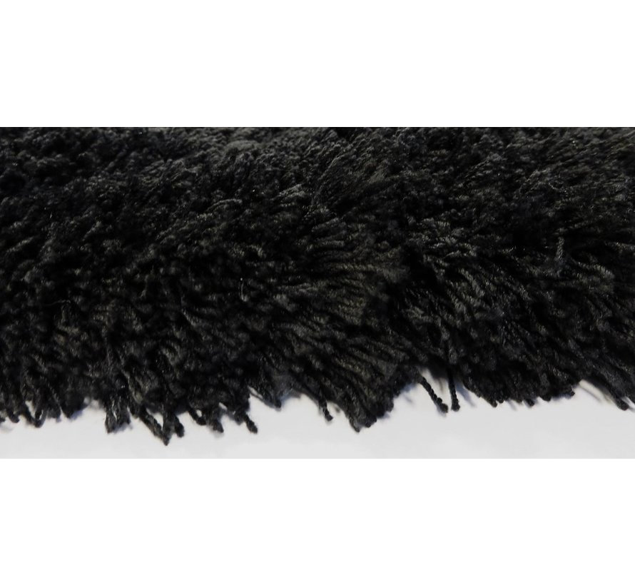 Hoogpolig tapijt zwart, 35 mm, op maat