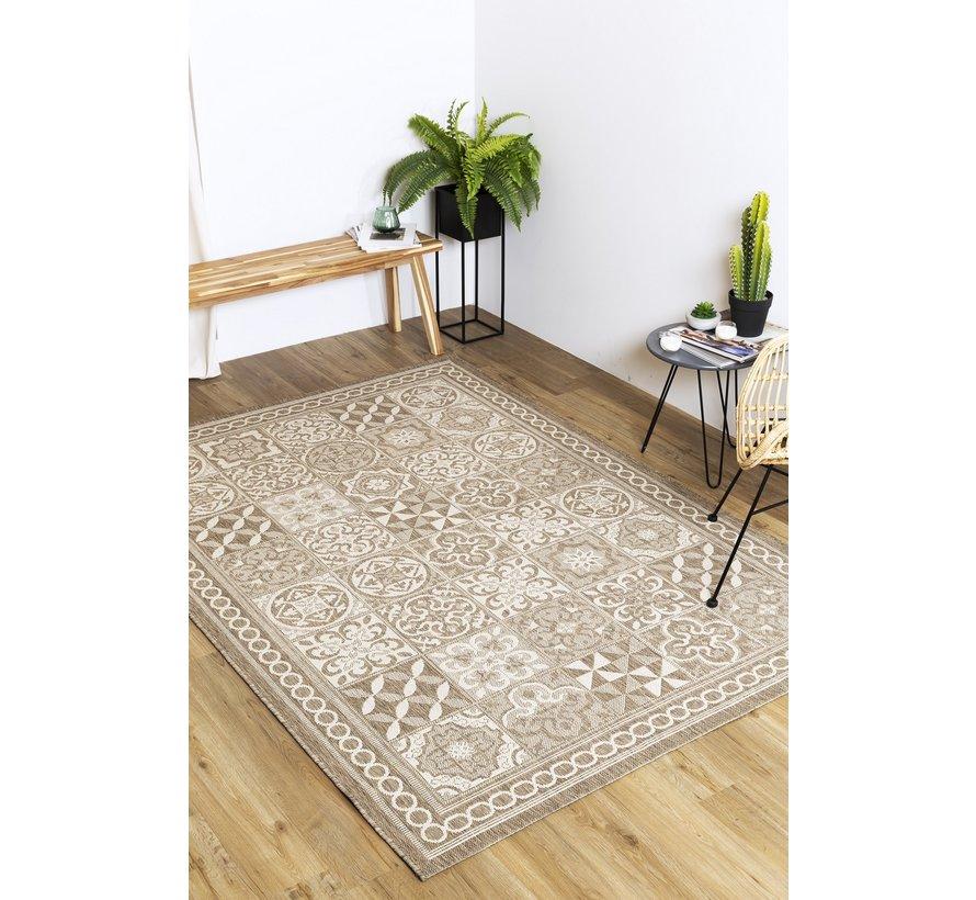 Modern tapijt met tegel dessin, taupe en champagne