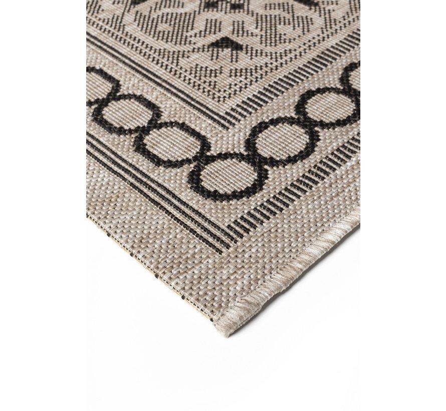 Modern tapijt met tegel dessin, zilver en zwart