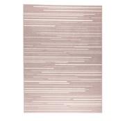 Tapis moderne lignes rose et crème