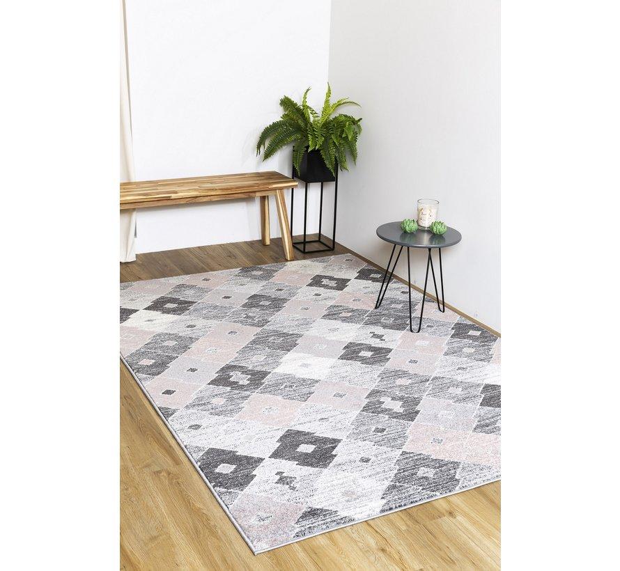 Modern tapijt, zilver en roze