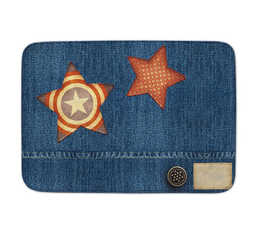 Kindertapijt jeanslook met sterren