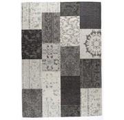 Vintage tapijt patchwork grijs