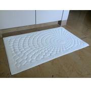 Tapis de bain coton, blanc dessin circles
