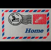 Deurmat wit met afbeelding postzegel