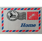 Paillasson blanc avec photo timbre