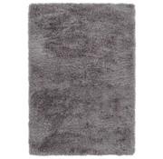 Tapis poil long polyester mix gris