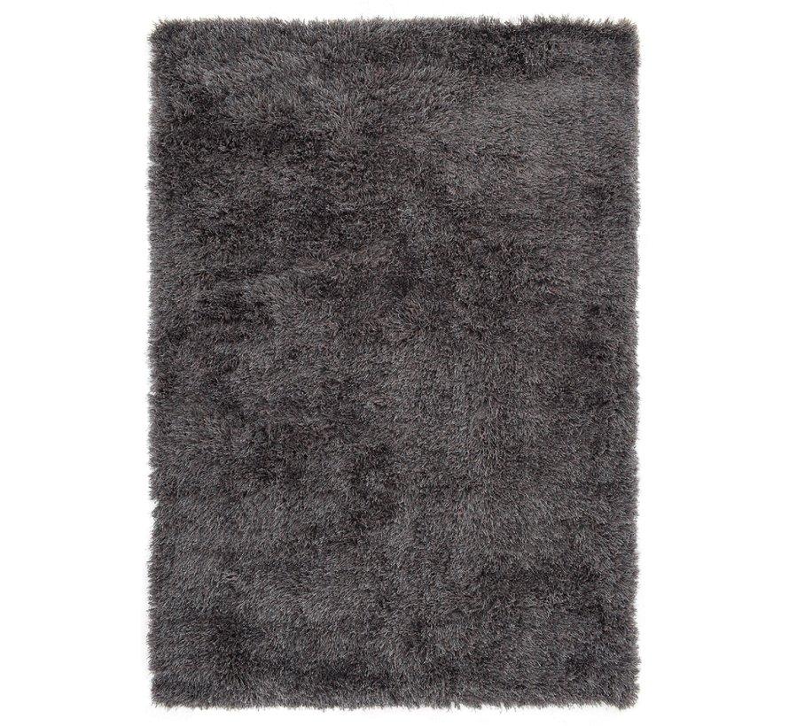 Tapis poil long polyester mix gris foncé