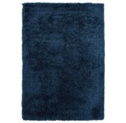Tapis poil long polyester mix bleu