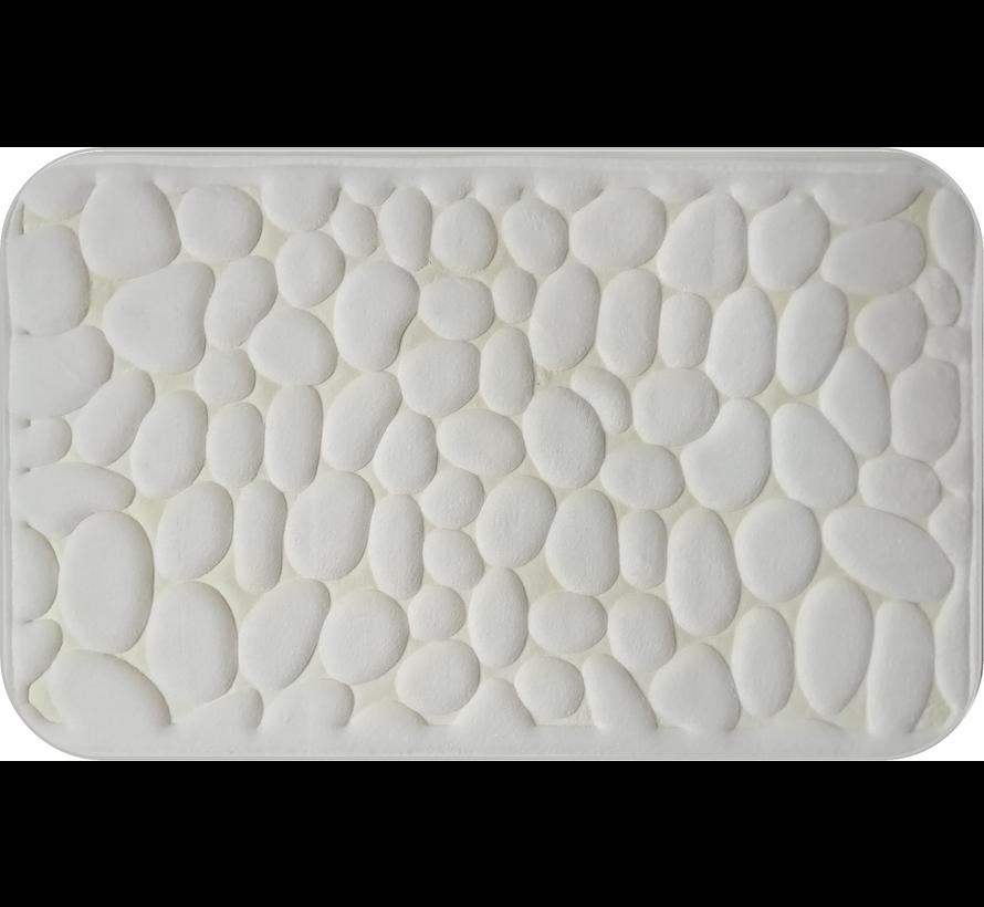 Tapis de bain memoryfoam ivoire dessin cailloux