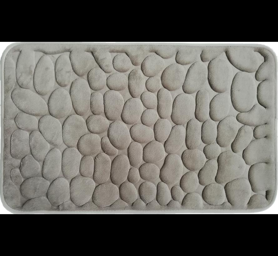 Tapis de bain memoryfoam taupe dessin cailloux