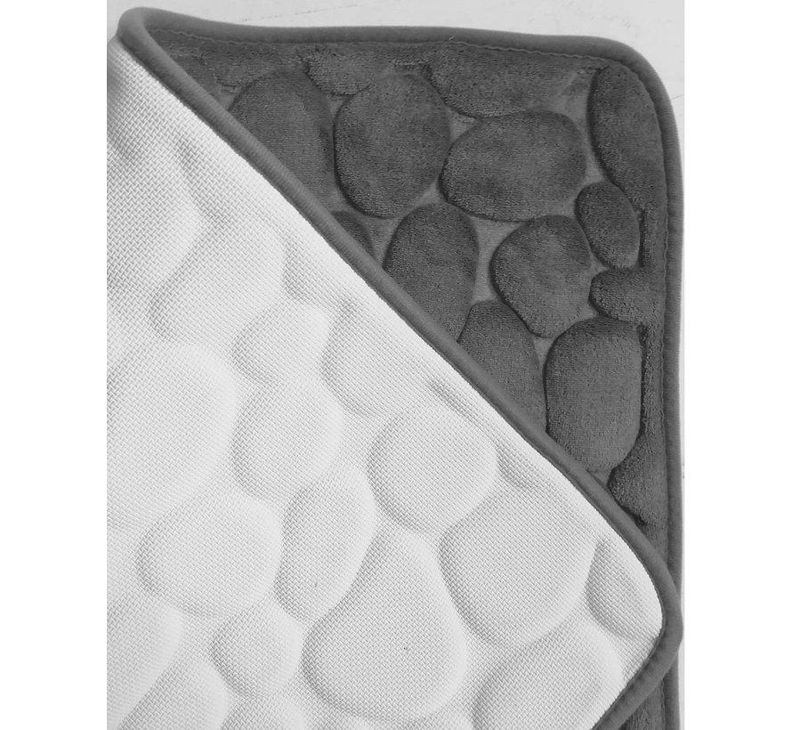 Tapis de bain memoryfoam gris dessin cailloux
