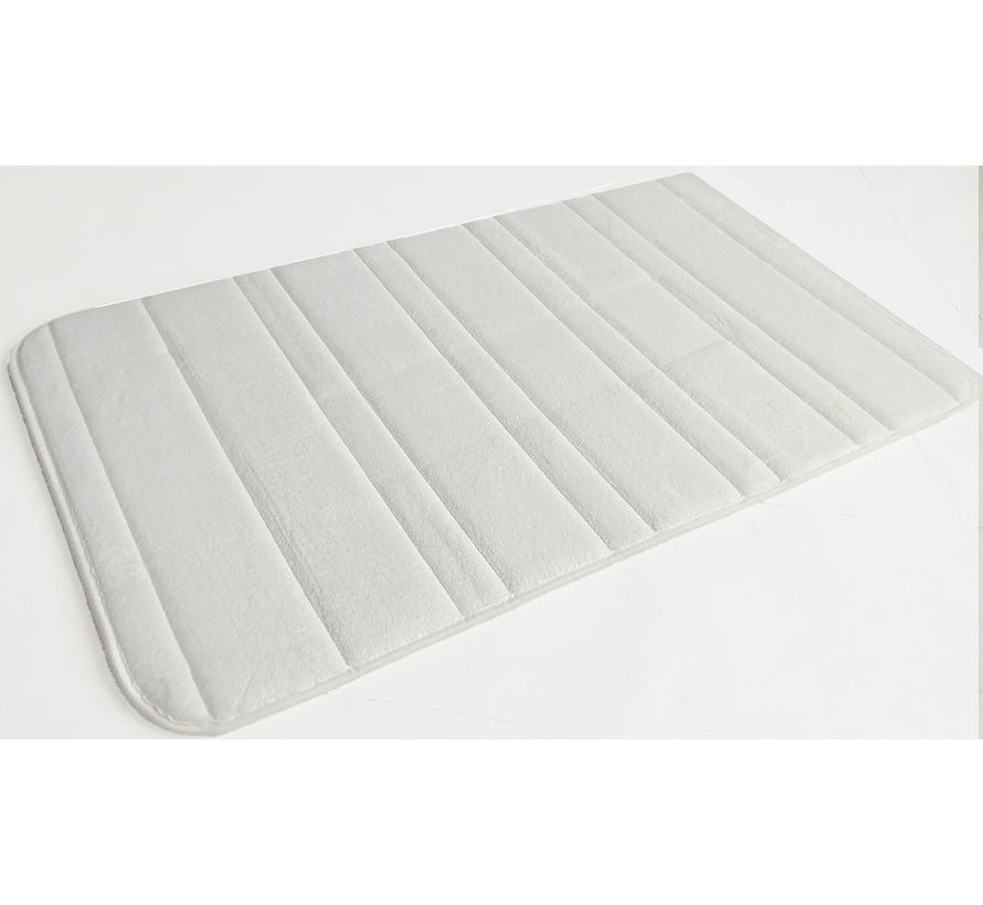 Tapis de bain memoryfoam ivoire lignes
