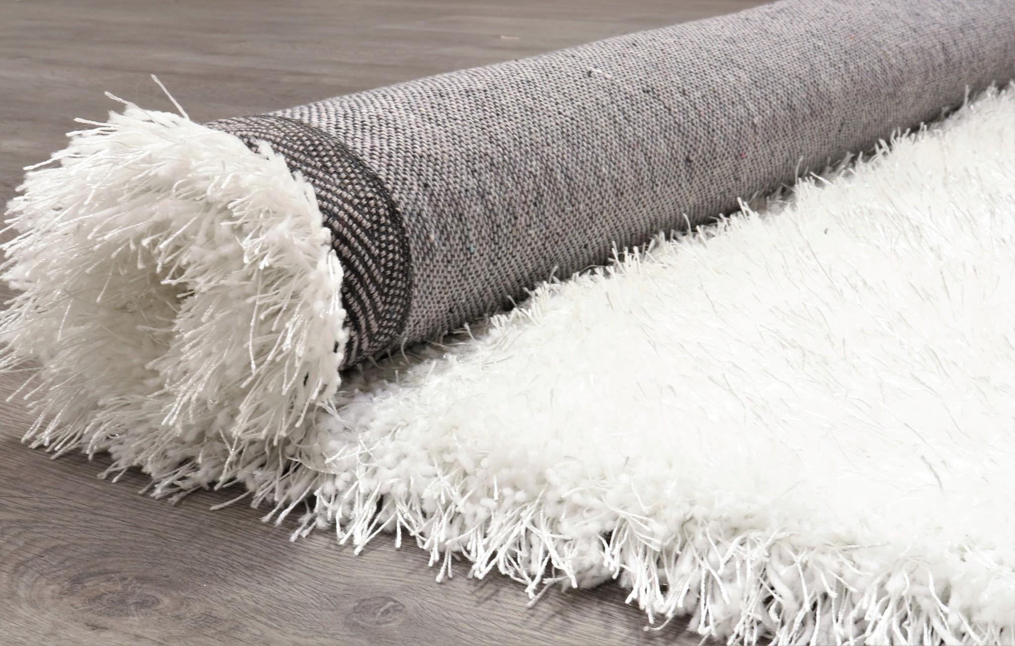 Tapis Long Poil Blanc tapis poil long polyester mix blanc