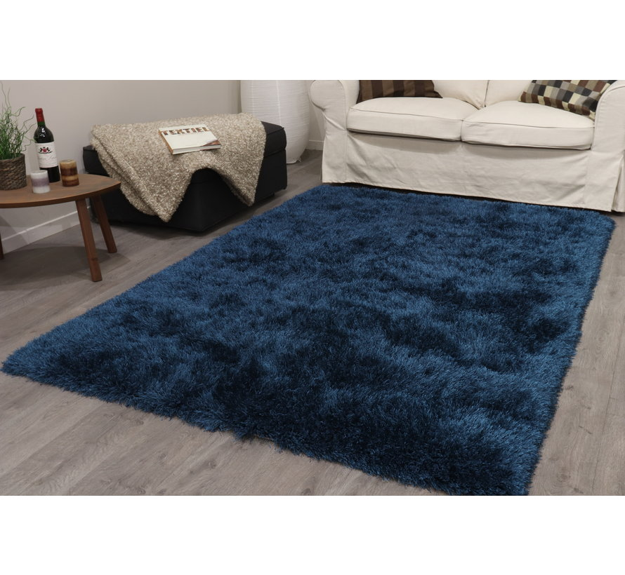 Tapis poil long polyester mix bleu
