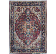 Vintage tapijt met medaillon, bedrukt, bordeaux