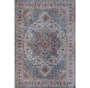 Vintage tapijt met medaillon, bedrukt, blauw